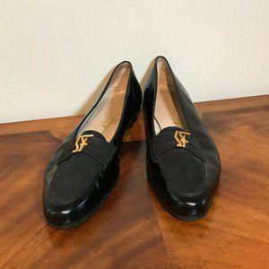Salvatore Ferragamo Black Leather Loafers, Sz 10